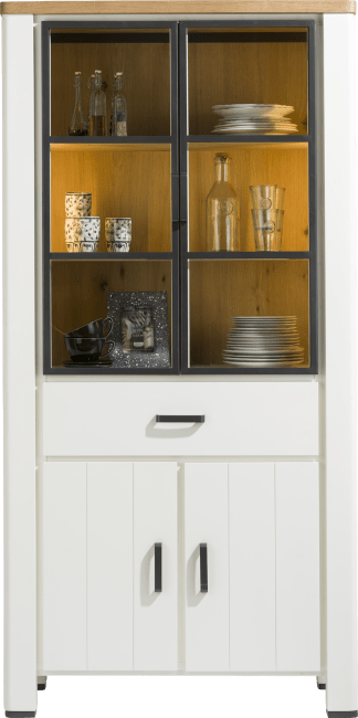 Happy@Home - Arizona - Natuurlijk - vitrine 100 cm - 2-glasdeuren + 2-deuren + 1-lade (+ led)