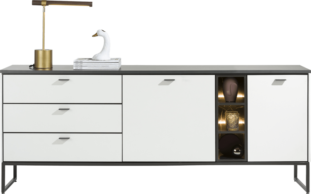 XOOON - Bogota - Minimalistisches Design - sideboard 200 cm - 2-tueren + 3-laden + 3-nischen (+ led)