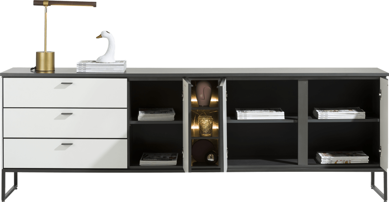 XOOON - Bogota - Minimalistisches Design - sideboard 240 cm - 3-tueren + 3-laden + 1-nische (+ led)
