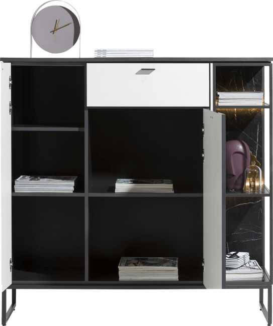 XOOON - Bogota - Minimalistisches Design - highboard 135 cm - 2-tueren + 1-lade + 3-nischen (+ led)