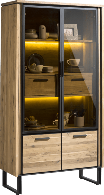 Henders & Hazel - Tokyo - Industrie - vitrine 100 cm - 2-glastueren + 2-tueren + 2-laden + led
