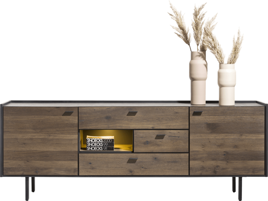 XOOON - Fresno - sideboard 220 cm. - 2-tueren + 3-laden + 1-nische (+ led)