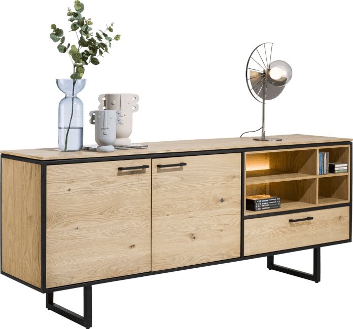 XOOON - Belo - dressoir 200 cm - 2-deuren + 1-lade + 4-niches (+ led)