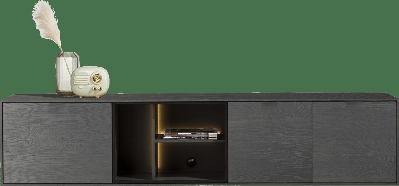 XOOON - Elements - Minimalistisch design - lowboard 210 cm. - hang + 2-deuren + klep + 3-niches + led