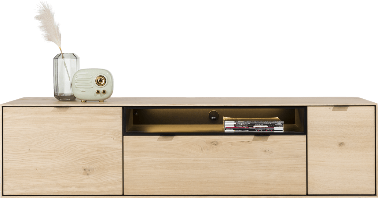 XOOON - Elements - Minimalistisches Design - lowboard 180 cm. - zum aufhaengen + 1-tuer + 1-lade + klappe + 1-nische + led