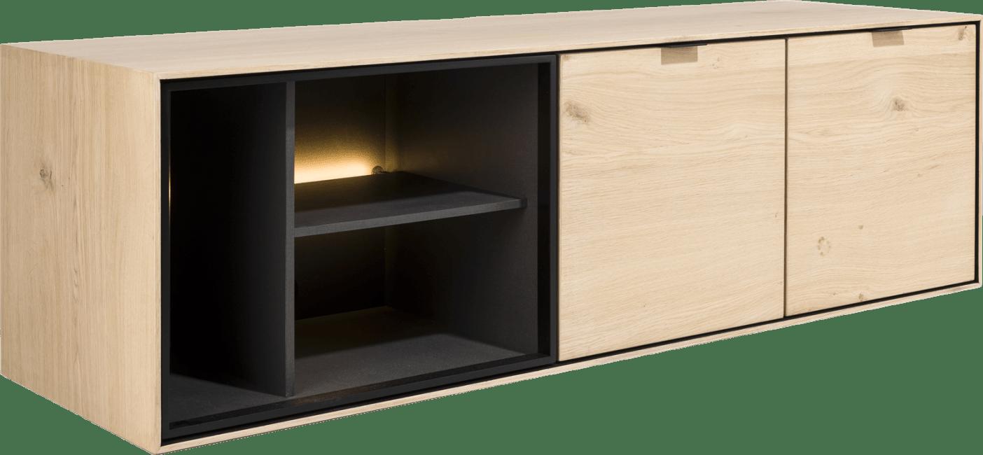 XOOON - Elements - Minimalistisch design - lowboard 150 cm. - hang + 2-deuren + 3-niches + led