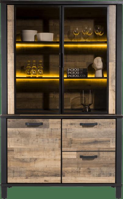 Happy@Home - Sardinie - Industrieel - buffet 130 cm. - 2-deuren + 2-glasdeuren (+ led)