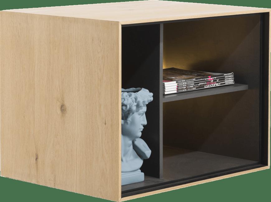 XOOON - Elements - Minimalistisches Design - box 45 x 60 cm. - holz - zum aufhaengen + 3-nischen + led