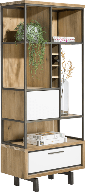 XOOON - Otta - Skandinavisches Design - buecherregal komplet 80 cm. + 1-tuer + 1-lade + 5-nischen + 4-weinfacher- (45719 + 45722)