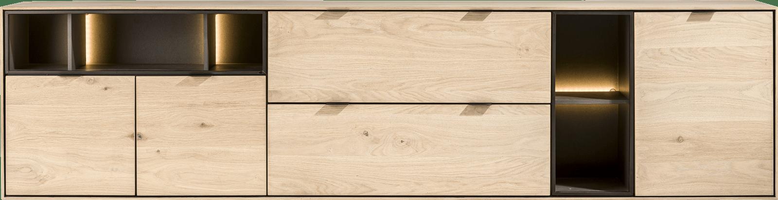XOOON - Elements - Minimalistisch design - dressoir 240 cm. - 3-deuren + 2-laden + 5-niches + led