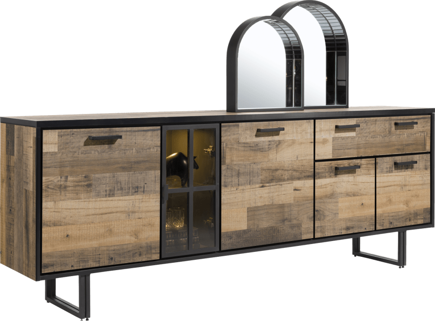 Henders and Hazel - Avalon - Industrieel - dressoir 230 cm. - 4-deuren + 1-lade + 1-glasdeur (+ led)