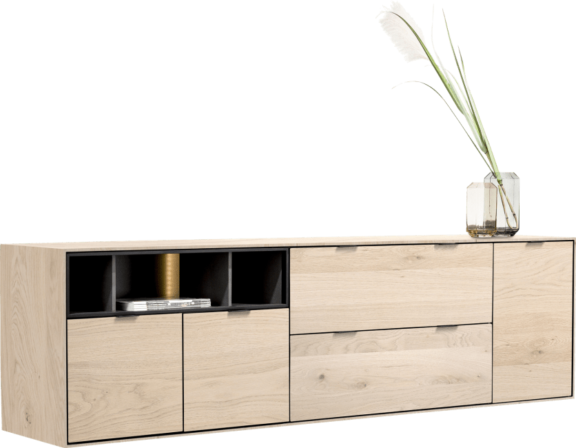 XOOON - Elements - Minimalistisch design - dressoir 210 cm. - 3-deuren + 2-laden + 3-niches + led