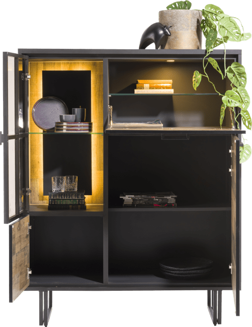 Henders and Hazel - Avalon - Industrieel - highboard 120 cm. - 2-deuren + 1-glasdeur + 1-klep (+ led)