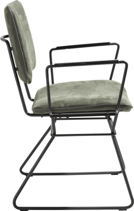 dining armchair - black frame - kibo with piping tatra anthracite