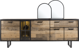 buffet 230 cm. - 4-portes + 1-tiroir + 1-porte en verre (+ led)