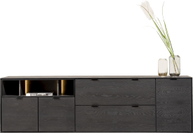 dressoir 210 cm. - 3-deuren + 2-laden + 3-niches + led