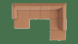 Longchair links - 2,5 zits zonder arm - hoek - ottomane small rechts