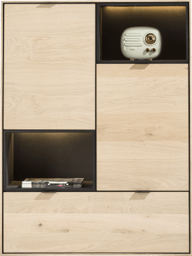 highboard 90 cm. - 2-deuren + 1-lade + 2-niches + led