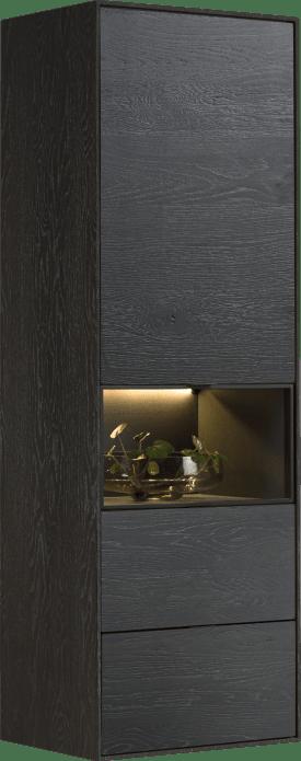 armoire smal - 60 cm. - 1-porte + 2-tiroirs + 1-niche + led