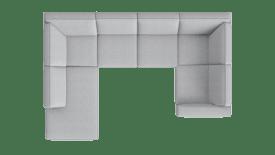 Ottomane links - 2 Sitzer ohne Armlehne - Eckteil - 1,5 Sitzer Armlehne rechts
