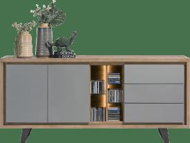 sideboard 190 cm - 2-tueren + 3-laden + 5-nischen (+ led)