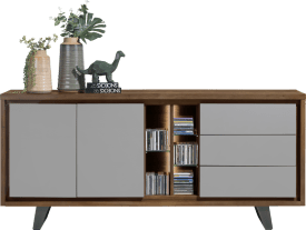 dressoir 190 cm - 2-deuren + 3-laden + 5-niches (+ led)