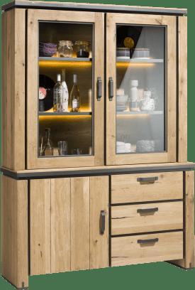buffet 150 cm - 1-deur + 2-glasdeuren + 3-laden + led