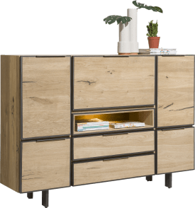 highboard 170 cm - 4-tueren + 2-laden + 1-klappe + 1-nische (+ led)