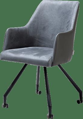 fauteuil 4-pieds + roulettes - noir - combinaison kibo/tatra
