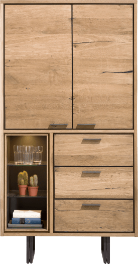 cabinet 100 cm - 2-doors + 3-drawers + 3-niches (+led)