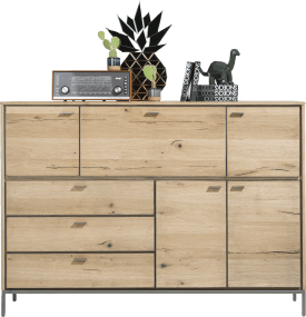 dressette 170 cm - 4-doors + 3-drawers + 1-fall front (+ led)