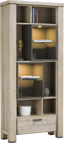 boekenkast 1-lade + 10-niches (+ led)