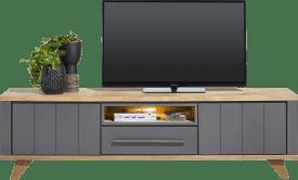 lowboard 210 cm - 1-tiroir + 1-niche + 2-portes rabattantes (+ led)