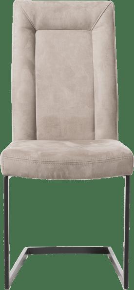 chaise - metal noir - pieds traineau rectangle avec poignee rectangle - tissu nubucco