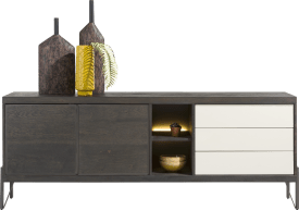 dressoir 210 cm - 2-deuren + 3-laden + 2-niches (+ led)
