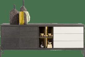 sideboard 240 cm - 2-tueren + 3-laden + 4-nischen (+ led)