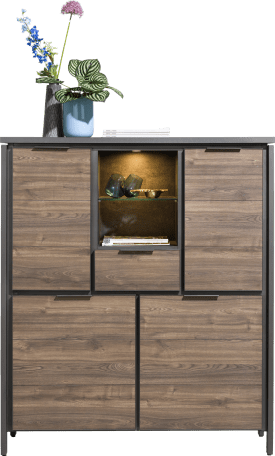 highboard 120 cm - 4-deuren + 1-lade + 2-niches (+ led)