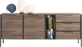 buffet 210 cm - 2-portes + 3-tiroirs + 4-niches (+ led)