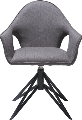armchair + handgrip + gas spring - metal off black - fabric lavinia