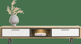 meuble tv 210 cm. - 1-tiroir + 1-porte rabattante + 1-niche (+ led)