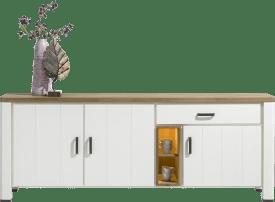 dressoir 225 cm - 3-deuren + 1-lade + 2-niches (+ led)