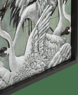painting storks 73 x 73 cm
