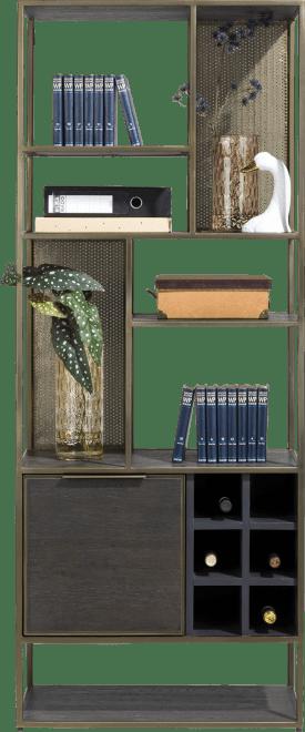 boekenkast 70 cm. - 1-deur + 6-niches + 6-wijnrekken