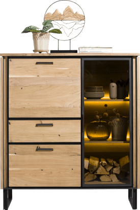 highboard 125 cm - 1-porte en verre + 2-portes + 1-tiroir + led
