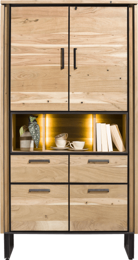 armoire 100 cm - 4-portes + 2-tiroirs + 3-niches + led