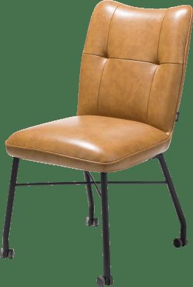 chaise avec roulettes + ressorts ensaches - avec poignee en catania noir - cuir laredo