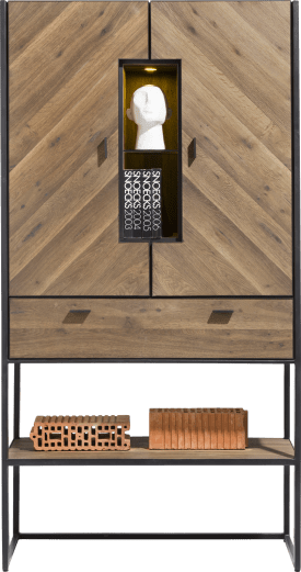 cabinet 100 cm. - 2-doors (herringbone veneer) + 1-drawer + 3-niches (+ led)