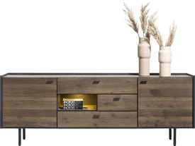 sideboard 220 cm. - 2-doors + 3-drawers + 1-niche (+ led)
