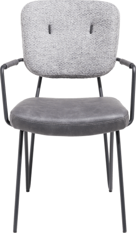 chaise avec accoudoirs - cadre off black + ressorts ensaches