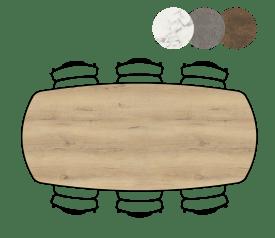 table de bar ovale - 240 x 110 cm - (hauteur 92 cm)